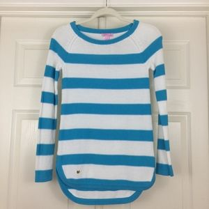 Lilly Pulitzer sweater top aqua white stripes